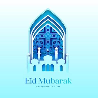 Papel estilo eid mubarak con mezquita
