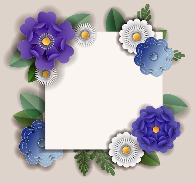 Papel de flores cortado en banner