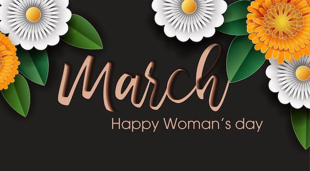 Papel de flores cortado en pancarta del día de la mujer.