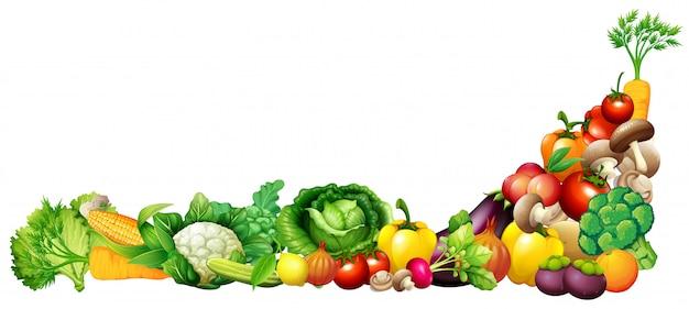 Papel con frutas y verduras frescas.