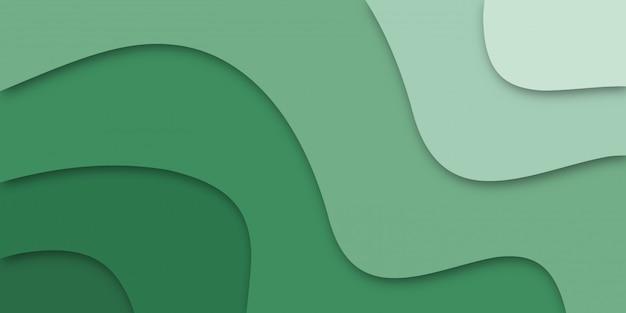 Papel geométrico cortado con textura verde efecto 3d.