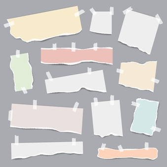 Papel grabado. piezas rotas de páginas de notas blancas y de colores vector plantilla realista