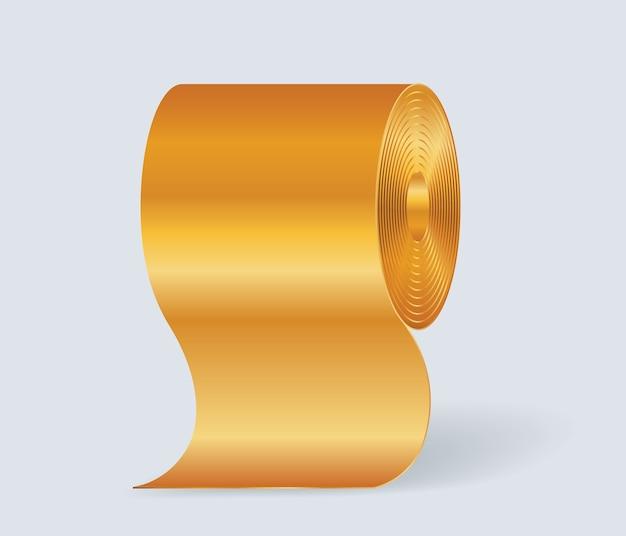 Papel higiénico dorado aislado sobre fondo blanco.