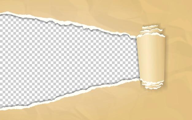 Papel kraft arrugado con borde enrollado sobre fondo transparente