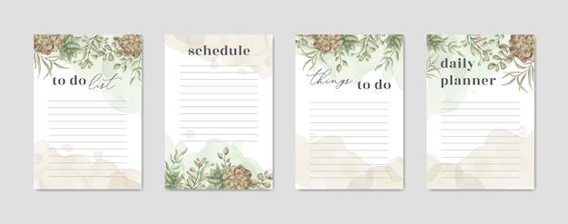Papel de lista de tareas con acuarela de plantas florales.