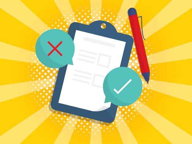Papel de lista de verificación en clipboarrd con símbolo verdadero y falso
