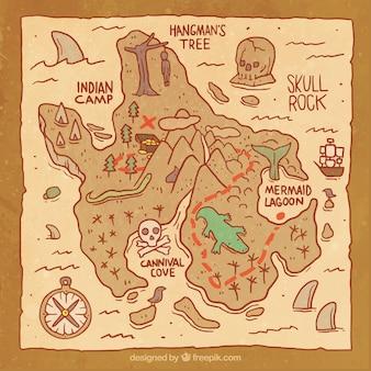 Papel con mapa del tesoro pirata en estilo vintage