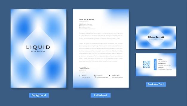 Papel con membrete moderno y tarjeta de visita con efecto líquido