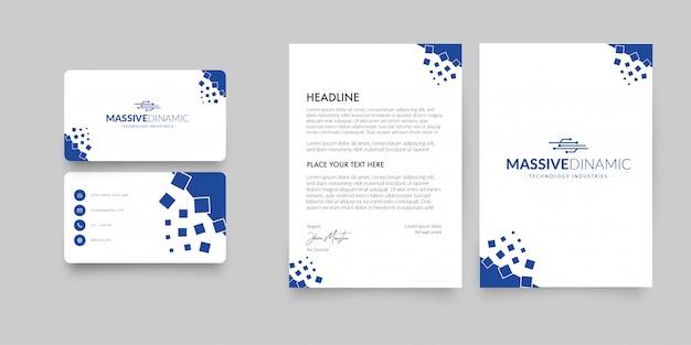 Papel con membrete moderno y tarjeta de visita con formas abstractas