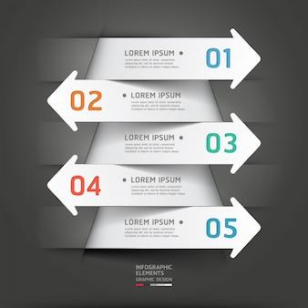 Papel moderno corte flecha infografía.
