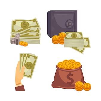 Papel moneda y bolsa. concepto de grande