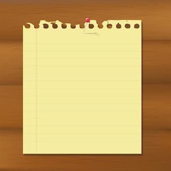 Papel de nota en blanco sobre fondo marrón de madera, ilustración