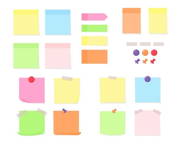 Papel de nota con cinta adhesiva, chinchetas de colores e imanes