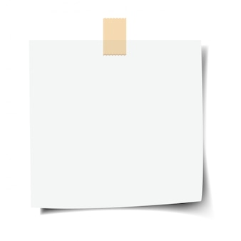 Papel de nota con fondo blanco