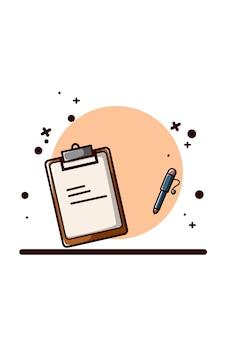 Papel de nota con ilustración de bolígrafo