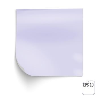 Papel de nota violeta del palillo en el fondo blanco