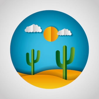 Papel origami paisaje de un desierto