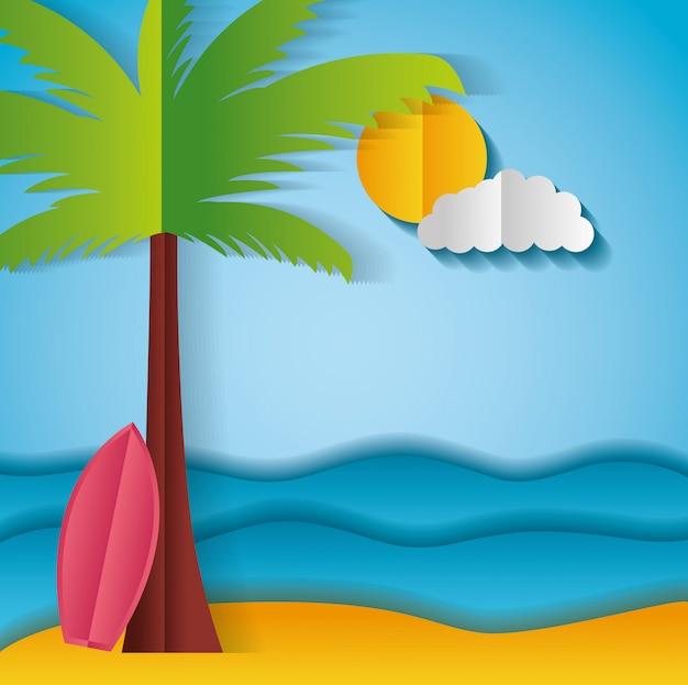 Papel origami paisaje de una playa