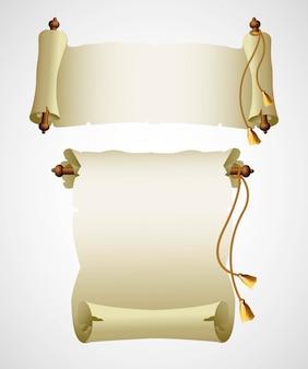 Papel de pergamino antiguo vertical. ilustración