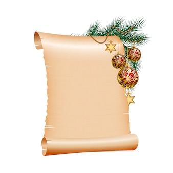 Papel de pergamino en blanco de navidad en blanco