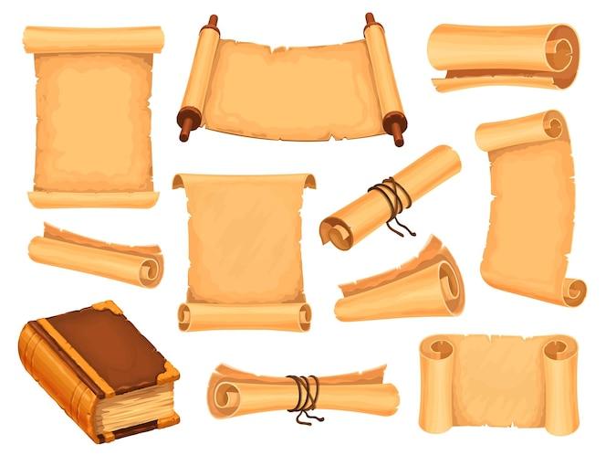Papel de pergamino de dibujos animados y libro mágico para juego de fantasía. pergaminos de mago antiguo. papiro antiguo, mapas del tesoro medieval y letras conjunto de vectores. documentos religiosos, certificados históricos