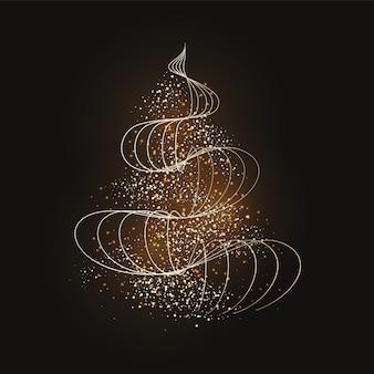 Papel pintado abstracto del árbol de navidad dorado