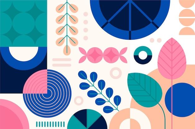 Papel pintado abstracto con formas y plantas