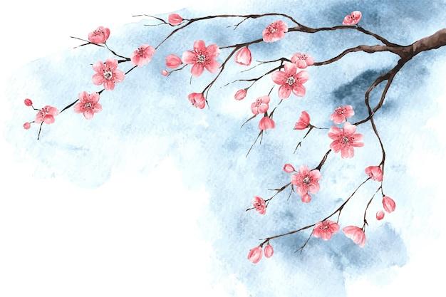 Papel pintado acuarela flor de ciruelo