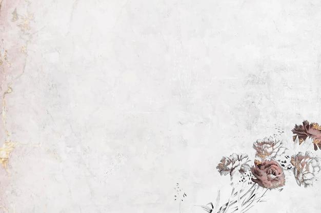 Papel pintado brillante floral en blanco