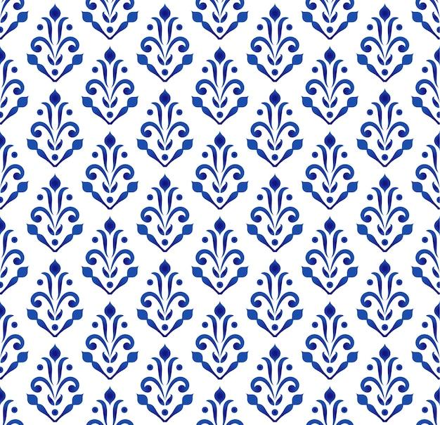 Papel pintado clásico azul y blanco, diseño cerámico sin costura.