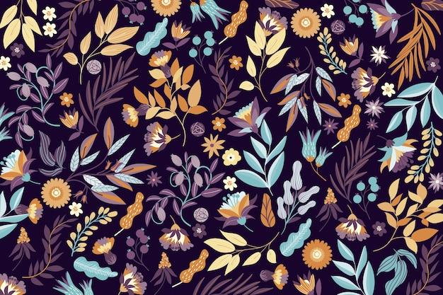 Papel pintado colorido de flores exóticas