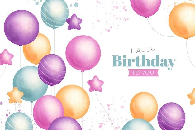 Papel pintado de cumpleaños de acuarela con globos de colores