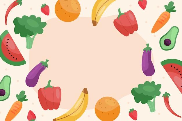 Papel pintado con diseño de frutas y verduras.