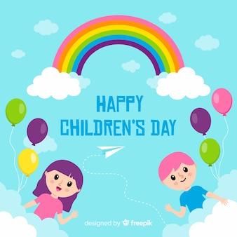 Papel pintado de diseño plano para el día del niño