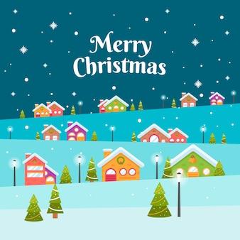 Papel pintado de diseño plano pueblo de navidad