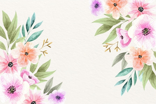 Papel pintado elegante floral acuarela