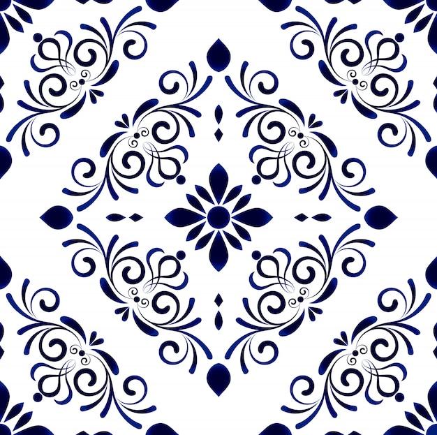 Papel pintado en estilo barroco damasco patrón floral sin fisuras, adornos florales, jarrones azules y blancos, decoración sencilla, azulejos de cerámica