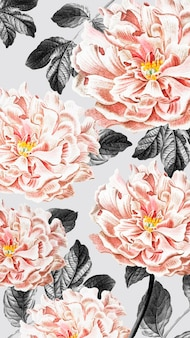 Papel pintado floral de peonía