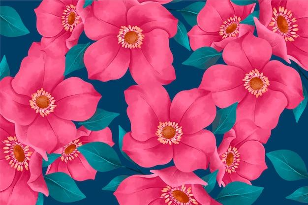 Papel pintado floral realista pintado a mano