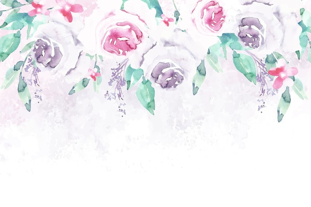 Papel pintado de flores de acuarela en colores pastel