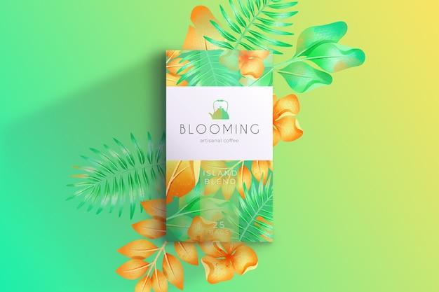 Papel pintado de flores de acuarela verde