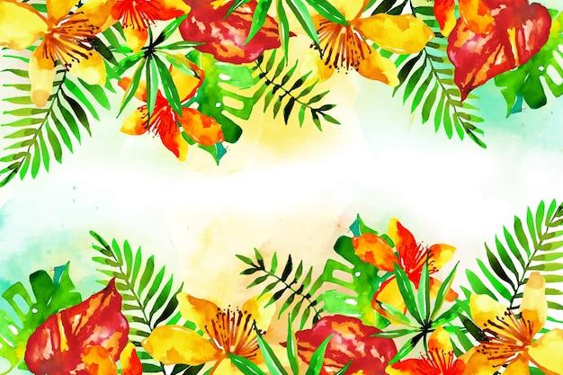 Papel pintado con flores exóticas