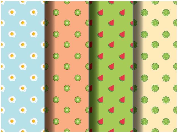 Papel pintado fondo modelo plantilla icono fiesta dibujos animados afiche flyer vector frutas salud desayuno