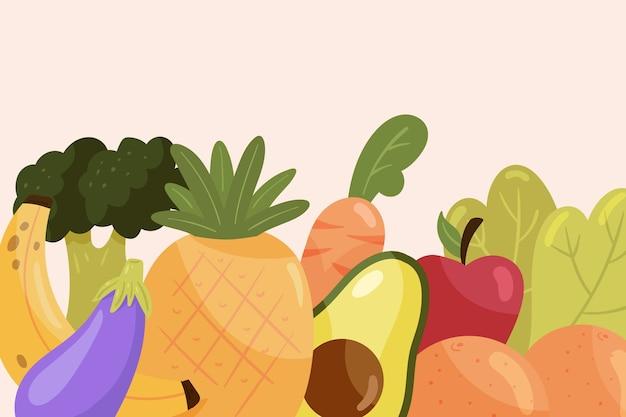 Papel pintado con frutas y verduras.
