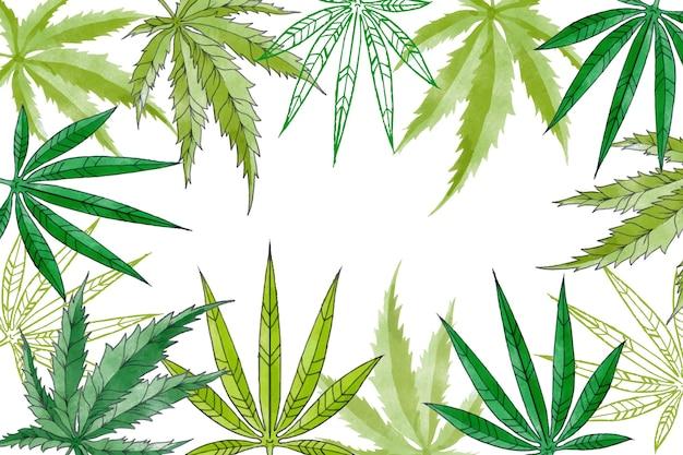 Papel pintado de hoja de cannabis botánico