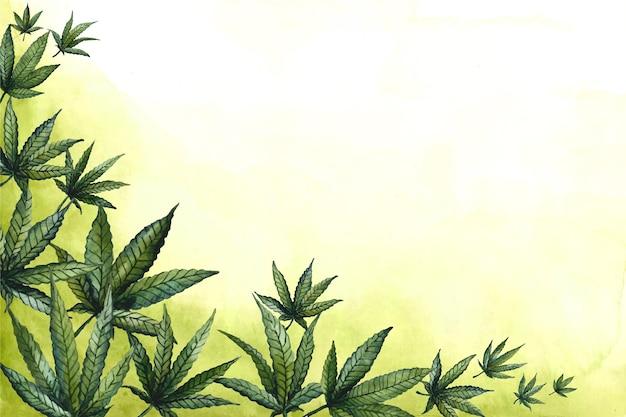 Papel pintado de hojas de cannabis en acuarela