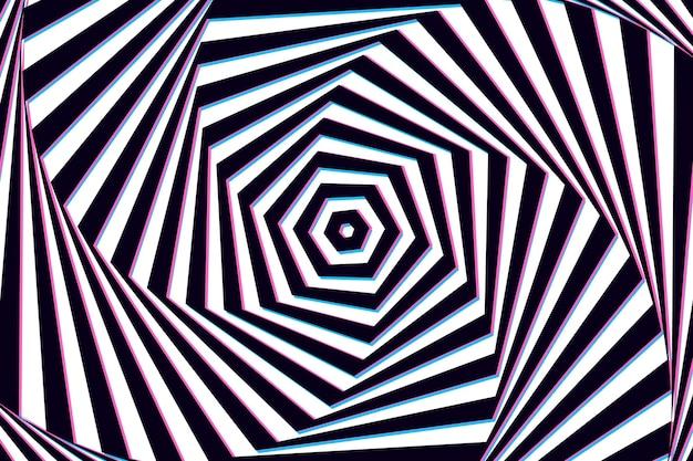 Papel pintado con ilusión óptica psicodélica