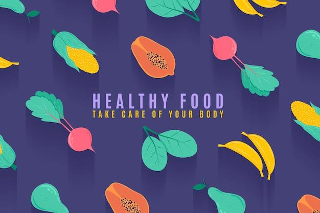 Papel pintado ilustrado de frutas y verduras