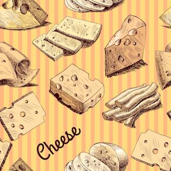 Papel pintado inconsútil del bosquejo del queso