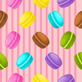 Papel pintado inconsútil lindo del modelo de los macarrones dulces